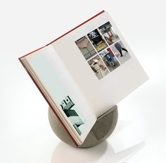 livroche Bookstand | Applying an architectural cubist shape, livroche can display books or stand by itself as a sculpture in any environment. Hand-carved from natural stone, the weight is approximately 10 lbs. DESIGN by David Fleishman //UMBRA (C) 2010