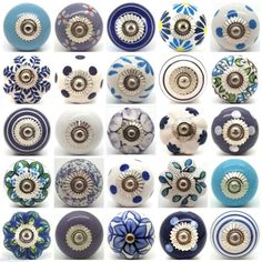 Blue White Purple Lilac Ceramic Door Knobs by Love Handle Furniture Drawer Pulls