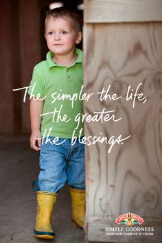 """""""The simpler the life, the greater the blessings."""" ♥ From their homes to yours, Land O'Lakes farm family members share Simple Goodness. Farm Quotes, Country Quotes, Boy Quotes, Quotes For Kids, Funny Quotes, Texas Quotes, Crush Quotes, Farm Kids, Farm Family"""