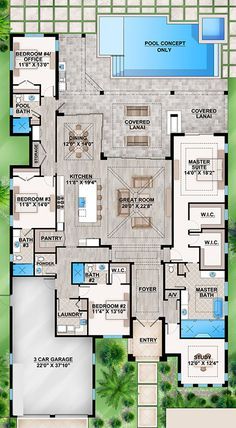 Home Layout Plans 835769643334948438 - House Plan – Coastal Plan: Square Feet, 4 Bedrooms, Bathrooms Source by Sims 4 Houses Layout, House Layout Plans, Floor Plan Layout, House Layouts, Florida House Plans, Coastal House Plans, Beach House Plans, Florida Home, House Plans With Pool