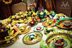 Deocrations and props ready for the Mehndi ceremony.