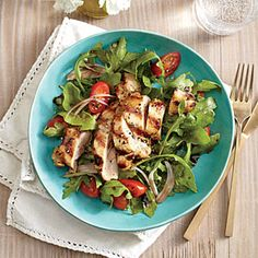 Grilled Lemon-Dijon Chicken Thighs with Arugula Salad | CookingLight.com #myplate #protein #veggies