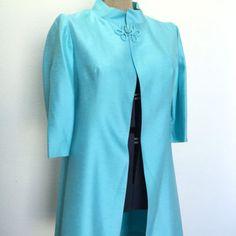 Vintage-Ladies-Swing-Coat-Blue-Shantung-Dressy-Tea-Length