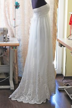 Gorgeous!  Fairytale Wedding Gown (custom made), Empire Waist Wedding Dress, Lace Wedding Dress, Romantic Wedding Dress. $950.00, via Etsy.