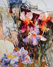 Irises by the Rock by Shirley Trevena