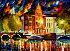 "AMSTERDAM — AUTUMN  REFLECTIONS — PALETTE KNIFE Oil Painting On Canvas By Leonid Afremov - Size 30""x40"""