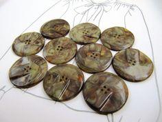 Vintage Art Deco Lot of 10 Olive-Green & Brown Marble Carved Bakelite Buttons
