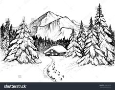 Winter forest in mountains, sketch. Black and white vector. Winter forest in mountains and house, sketch royalty free stock vector art black forest mountains sketch vector white winter winterbucketlist winterclothes winterdiy winterdrawings winterf Mountain Drawing Simple, Mountain Sketch, Forest Sketch, Forest Drawing, Nature Sketch, Nature Drawing, Landscape Sketch, Landscape Drawings, Winter Drawings