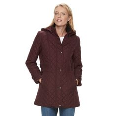 Women's Weathercast Quilted Hooded Midweight Jacket, Size: Medium, Red Other
