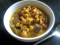 Middle Eastern Inspired Spicy Chickpea, Eggplant and Tahini Stew