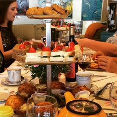 Tea time for the Bridal tea shower!! tea sandwiches, fresh scones, fresh creams and jelly, cookies and fruit breads with lots of tea and wine! at the Infusion tea in orlando fl!