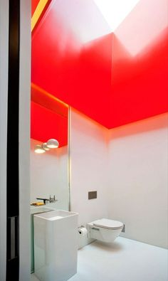 Bathroom with the Red Ceiling