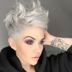 Today we have the most stylish 86 Cute Short Pixie Haircuts. We claim that you have never seen such elegant and eye-catching short hairstyles before. Pixie haircut, of course, offers a lot of options for the hair of the ladies'… Continue Reading → Haircut For Thick Hair, Short Hair Updo, Curly Hair Styles, Hair Ponytail, Chic Short Hair, Slick Ponytail, Funky Short Hair, Corte Y Color, Short Pixie Haircuts