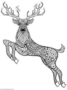 silhouette: Hand drawn magic horned deer with birds for adult anti stress Coloring Page with high details isolated on white background, illustration in zentangle style. Deer Coloring Pages, Doodle Coloring, Mandala Coloring, Printable Coloring Pages, Adult Coloring Pages, Coloring Books, Colouring Sheets, Free Coloring, Christmas Doodles