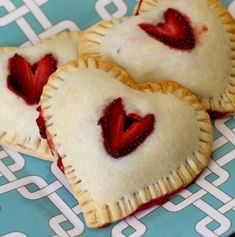 Strawberry heart-shaped hand-pies! LOVE!