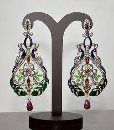 Garnet, Ruby, Emerald & Tourmaline Gemstone Studded Victorian Earrings
