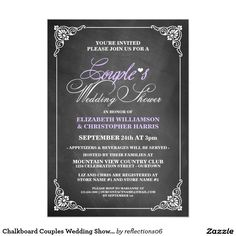 Chalkboard Couples Wedding Shower Invitations. Elegant Chalkboard Bridal Shower Invitation Templates. Classy bridal shower invitations that you can order online. Customized for the new bride to be. Elegant bridal shower invitation that feature a nice chalkboard background, great design and typography. Click image to customize. Feel free to like or repin.