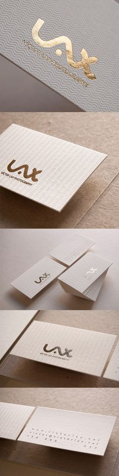 Stylish Subtly Textured White And Gold Foil Business Card For A Photographer