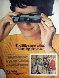 "Vintage Kodak Ad ---I had one of these! For the young'uns:The 4 sided flash cube sit right on top...spun around as each picture was taken! Took 110 size film, a weird little cassette with film reasivop that installed flush with the body I used this camera (no zoom) for 2 of my Osmond concerts. We sat so far back the guys looked like .25"" toothpicks in their white jumpsuits! Hahaha"