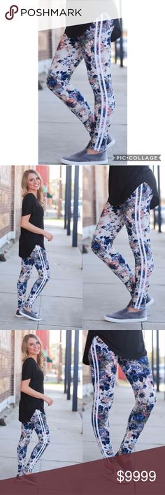 Floral Striped Leggings Super soft floral striped leggings.  Material Content: 92% polyester, 8% spandex  These are one size fits most and fit up to a size 12 comfortably. Pants Leggings