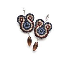 Denim blue swarovski dangle earrings nautical statement hand embroidered soutache earrings via Etsy