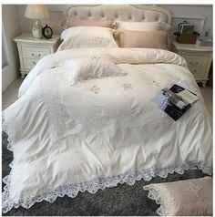 New arrival Beige Embroidered 100%cotton Bed four pieces Lace Edge Europe Wedding Four-piece Kit Quilt cover Pillow Bedspread