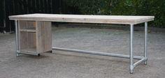 Bureau met steigerbuis | Tafel met steigerbuis | stoerensfeervol