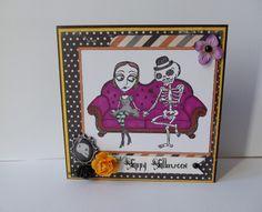 Carte double thème Halloween - faite main - squelette / noir / orange / violet : Cartes par creations-carterie