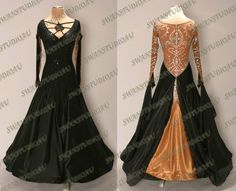 BRAND NEW READY TO WEAR BLACK SATIN BALLROOM DANCE COMPETITION DRESS SIZE:6