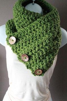 Coconut Button Crochet Cowl
