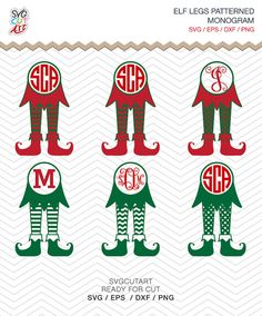 Elf Legs Monogram Patterned Christmas Frame DXF SVG by SvgCutArt