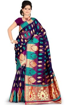 Deep Violet Silk #HandWoven #PartySaree Sku Code: 449-6226SA412368 US $67.00 http://www.sareez.com/catalog/product/view/id/78305/s/deep-violet-silk-hand-woven-party-saree/category/265/