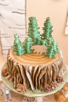 Don't miss this cute woodland 1st birthday party! The cake is adorable! See more party ideas and share yours at CatchMyParty.com