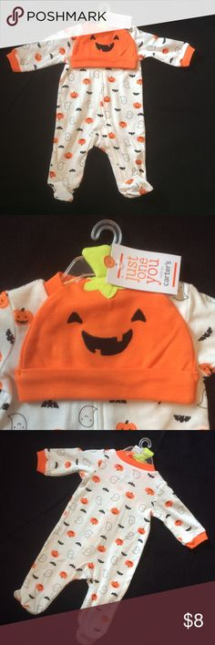 Lightweight zip up footed sleeper 🎃 Carter's just one you - lightweight zip up footed sleeper and pumpkin beanie for Halloween 🎃 Carter's One Pieces Footies