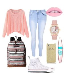 """""""School outfit"""" by baileylovesvolleyball ❤ liked on Polyvore featuring Glamorous, Converse, JanSport, Maybelline and Kate Spade"""