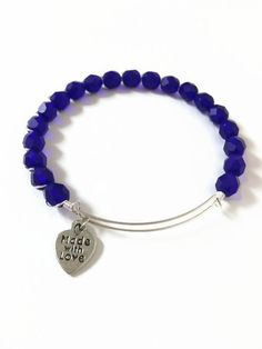 Cobalt Blue Czech Glass Wire Bracelet Electric Blue Czech Glass Beaded Bracelet Blue Bead Expandable Bracelet Stacking Bracelet (MBX190) by JulemiJewelry on Etsy
