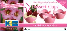 Chocolate Cups by Kane Candy. Premium Quality Chocolate Dessert Cups now available in Pink Magnolia variety. Great for parties, weddings, holiday events and more! www.KaneCandy.com
