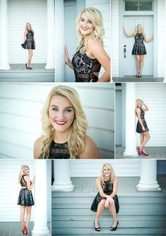 Black dress with red heels senior picture