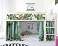 IKEA KURA BED removable stickers tropical leaves (Ikea nursery decals Furniture stickers Furniture decal set Children& decor K 35 Ikea Nursery, Ikea Bedroom, Nursery Decals, Lego Bedroom, Bedroom Ideas, Ikea Childrens Bedroom, Minecraft Bedroom, Nursery Curtains, Nursery Crib