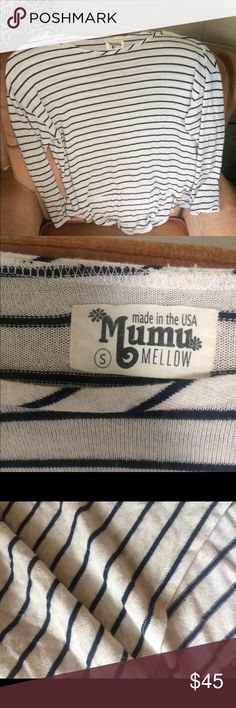 Mumu small stripped long soft shirt women's Barely worn! Beautiful long sleeve stripped Mumu shirt, longer in back! Great for chilly evenings. Women's small, fits xs-m Show Me Your MuMu Tops Tees - Long Sleeve