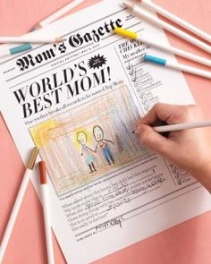 """Free printable """"mom's gazette"""" for kids to color in on Mother's Day."""