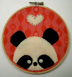 maybe embroider a fun background and then stitch the bear on top---make it for her wall or adapt it into jewelry storage? Embroidery Hoop Crafts, Embroidery Applique, Embroidery Patterns, Crafts To Do, Felt Crafts, Panda Craft, Craft Organization, Felt Art, Craft Fairs