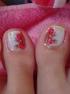Pedicure Nail Art, Toe Nail Art, Acrylic Nails, Beauty Makeup, Hair Beauty, Toe Polish, Feet Nails, Gorgeous Feet, Flower Nails