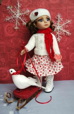 """~SWeeTHeaRT SHiMMeR~ a sweet handknit sweater,hat,scarf,& skirt for Patsy or AnnEstelle 10"""" DoLLs. Newly created with red and white tones for your favorite Patsy Doll. May fit Kish Bitty Bethany and even some of Dianna Effner Dolls. A Tonner Patsy Doll is modeling this and its at my ebay this week. Check out my website also please, it's also on there."""