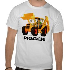 Yellow Digger T Shirts by Paul Stickland for TruckStore on Zazzle.