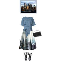 Chicwish New York Skyline Printed Midi Skirt