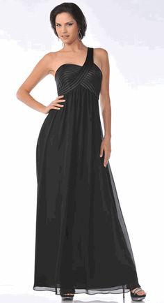 Black Semi-Formal One Shoulder Dress Chiffon Pleated A-Line Dress (Size XS to 3XL-7 Colors) #7748C
