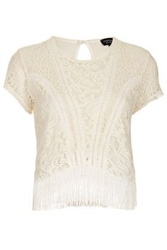 Lace Mix Fringe Tassle Tee - Jersey Tops  - Clothing
