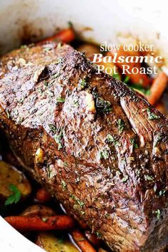 Slow Cooker Balsamic Pot Roast - Melt in your mouth. Slow Cooker Balsamic Pot Roast - Melt in your mouth tender Slow Cooker Balsamic Pot Roast - Melt in your mouth tender Balsamic Pot Roast prepared in the slow cooker with potatoes and carrots! Crock Pot Slow Cooker, Crock Pot Cooking, Slow Cooker Recipes, Cooking Recipes, Game Recipes, Crock Pots, Deer Recipes, Slow Cooker Potatoes, Beef Recipes