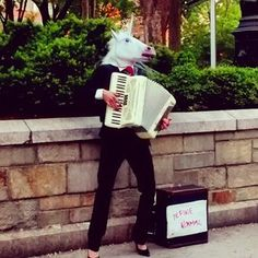 The Guy Who Wears A Horse Head Mask And Plays The Accordion | 28 People That Are More Qualified New York Ambassadors Other Than Taylor Swift